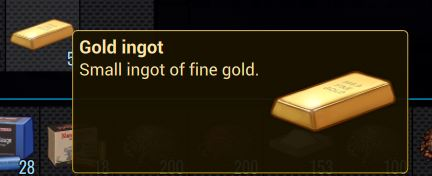 The in-game description for gold ingot in Cryofall