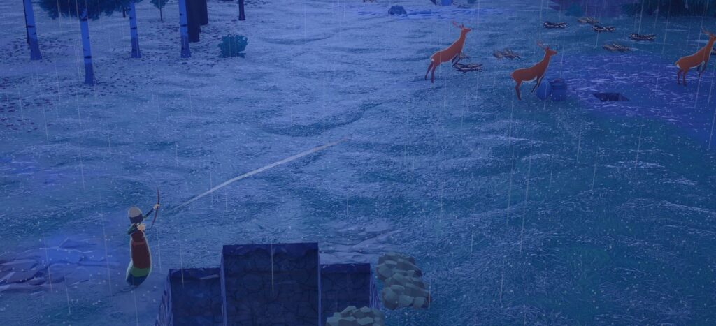 A character hunting a deer in Going Medieval