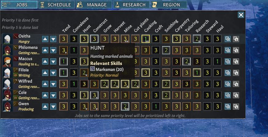 The jobs menu in Going Medieval with the hunt job highlighted