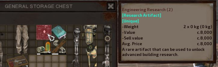 The in-game description for Engineering Research