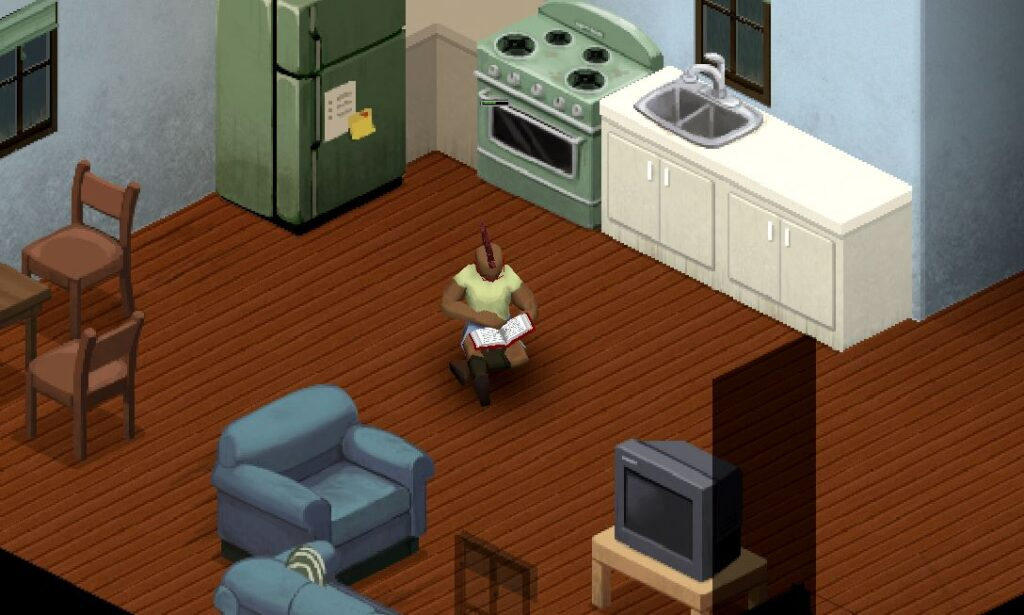 A character reading a book in Project Zomboid
