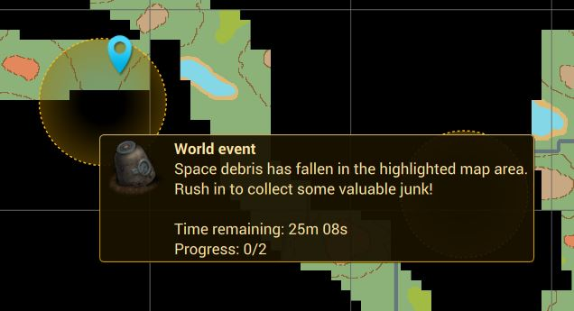 World Event! Space Debris world event message in Cryofall