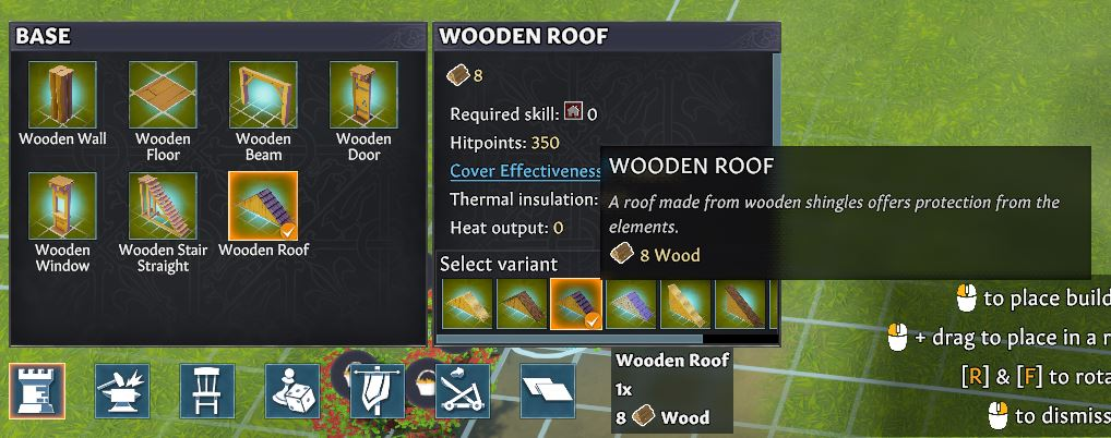 Building a wooden roof in Going Medieval through the build menu