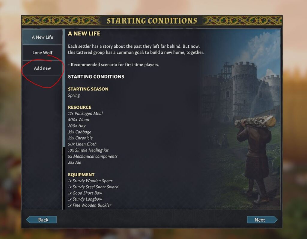 creating a custom starting condition in Going Medieval to ass more starting settlers