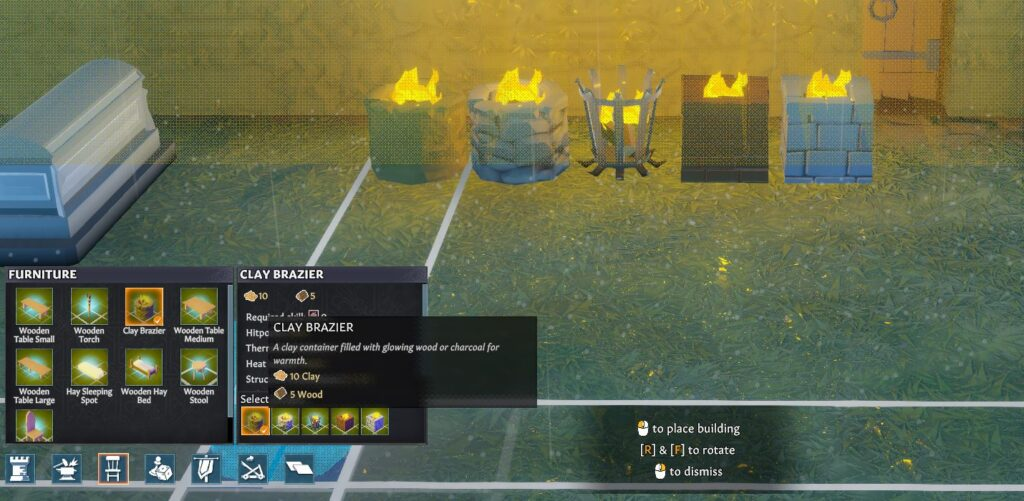 5 different braziers in Going Medieval