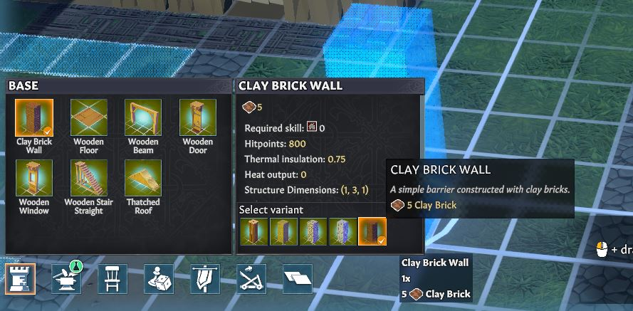 Building a clay brick wall in Going Medieval