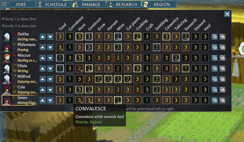 Changing the Convalesce job priority in Going Medieval