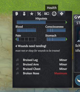 The health menu of an injured settler