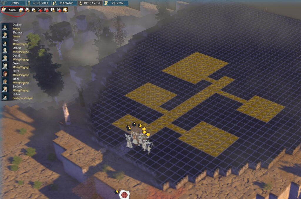 Settlers mining a mountain to create an underground base