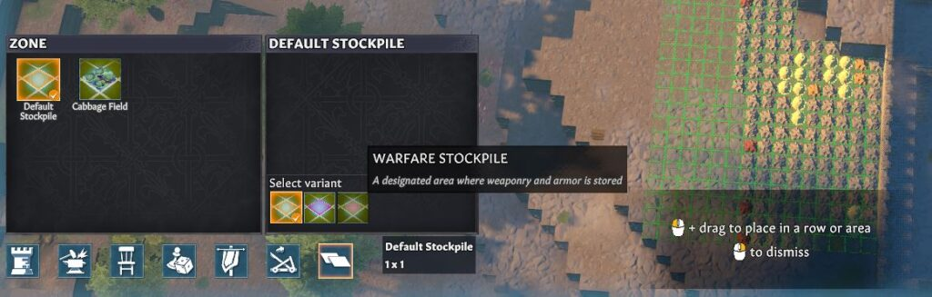 Creating a warfare stockpile in Going Medieval