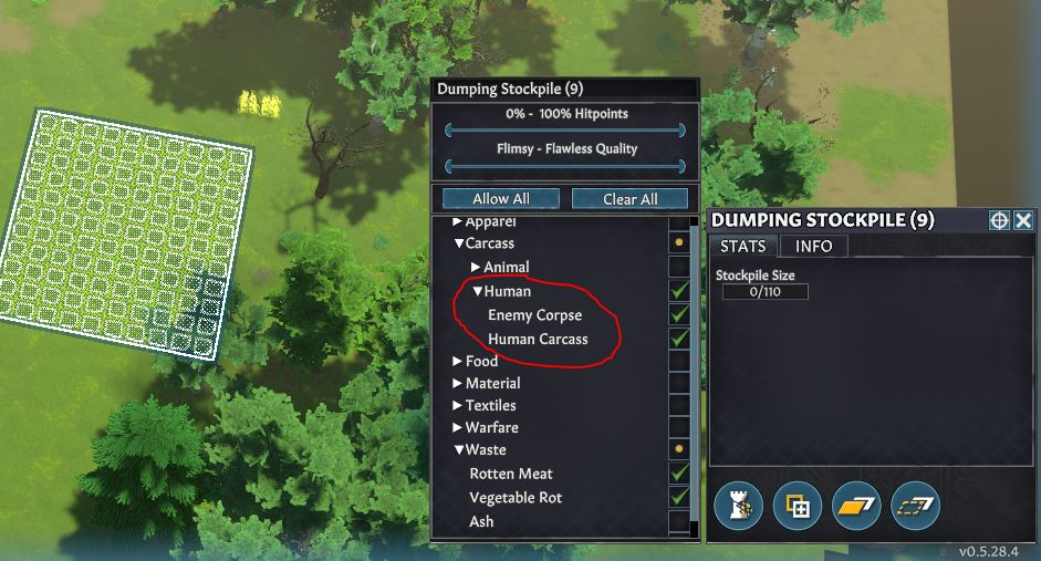 Changing stockpile settings in Going Medieval to not include animal carcasses