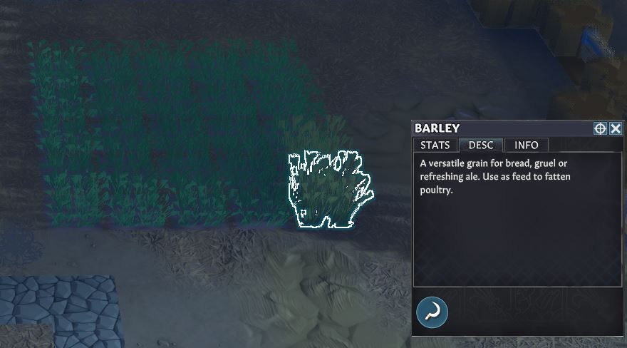 The in-game description for barley in Going Medieval