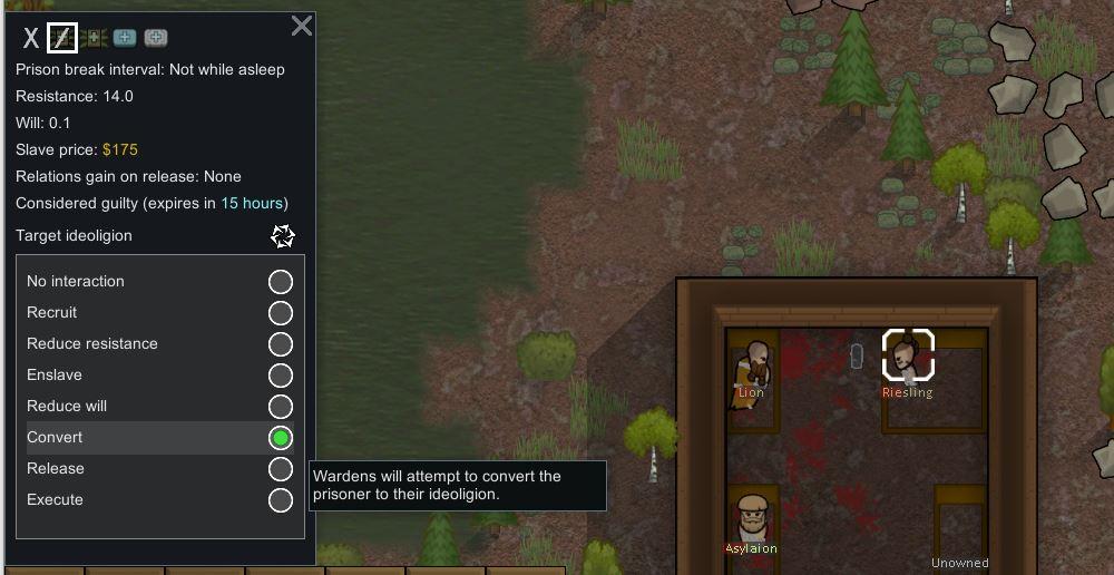 Converting a prisoner in Rimworld Ideology through the prisoner interaction menu