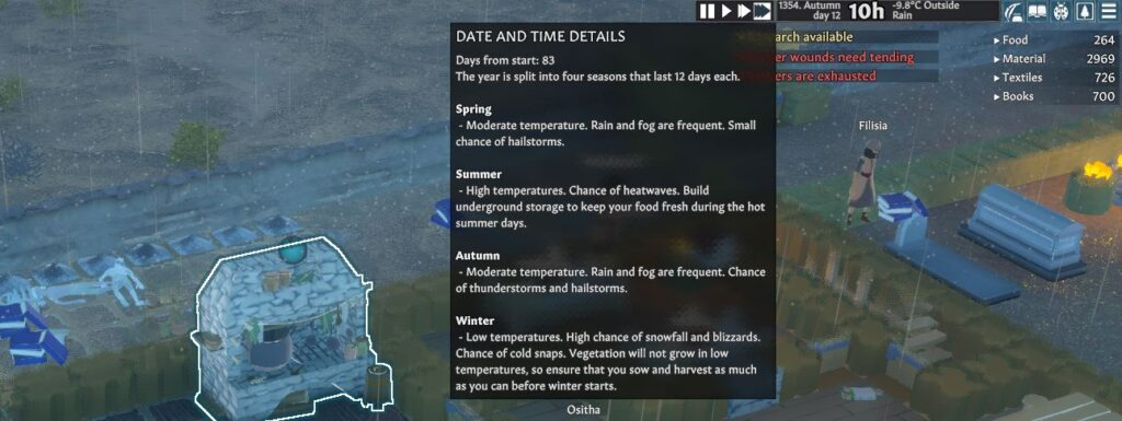 Showing the dates and seasons in Going Medieval