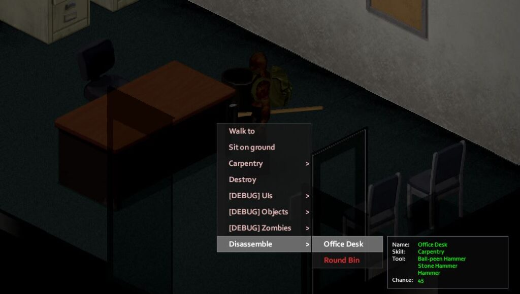 Disassembling a desk in Project Zomboid to gain carpentry experience