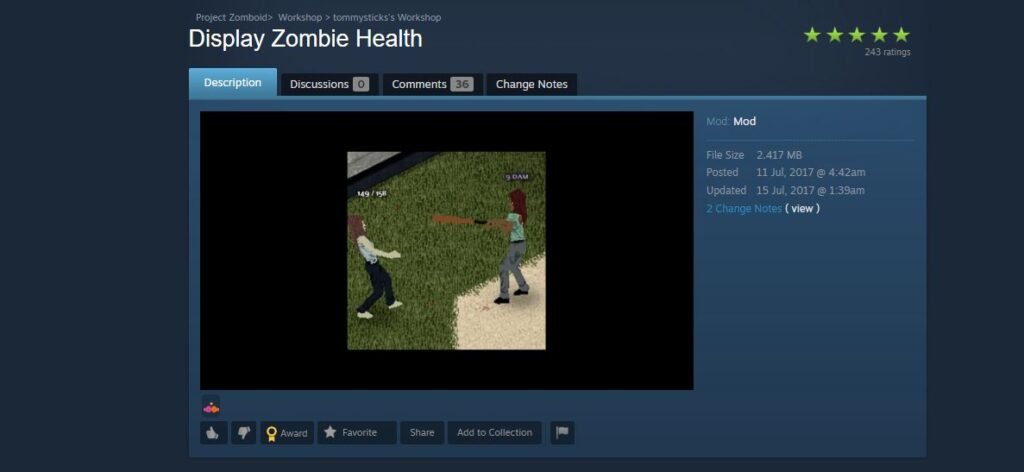 The display zombie health mod for Project Zomboid
