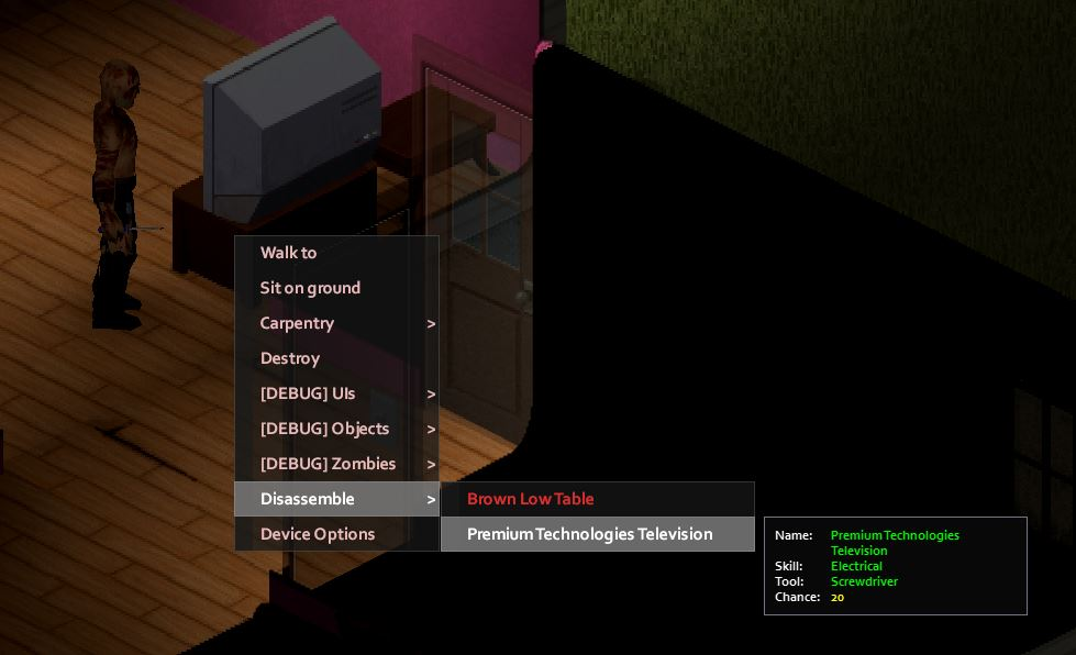 Disassembling a TV in Project Zomboid to gain electrical experience