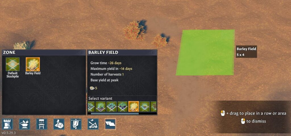 Starting a barley field in Going Medieval