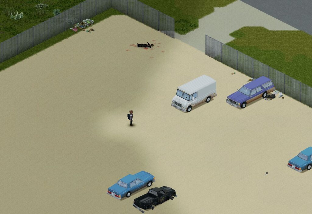 Escaping from the helicopter event in Project Zomboid in a vehicle