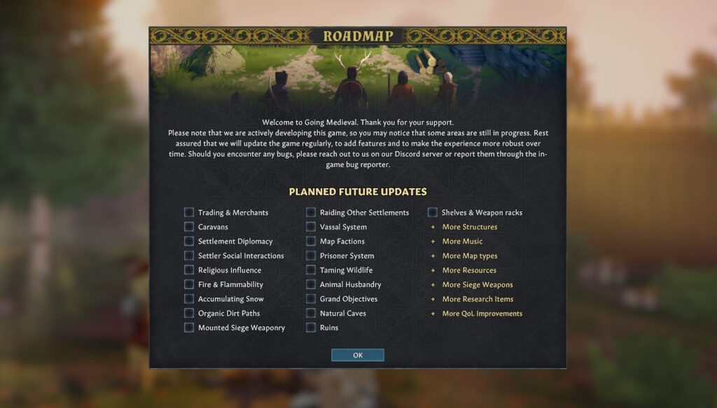 the Going Medieval roadmap
