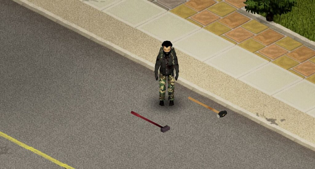 The two variants of sledgehammer in Project Zomboid