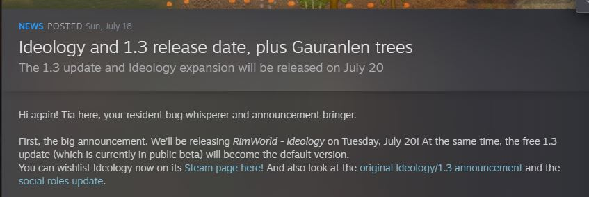 The announcement of the Rimworld ideology release date