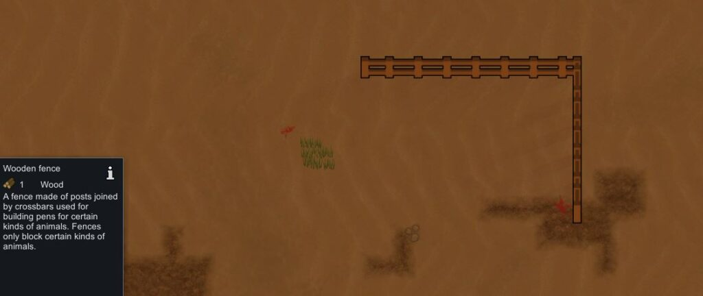 Creating an animal pen in Rimworld using wooden fences