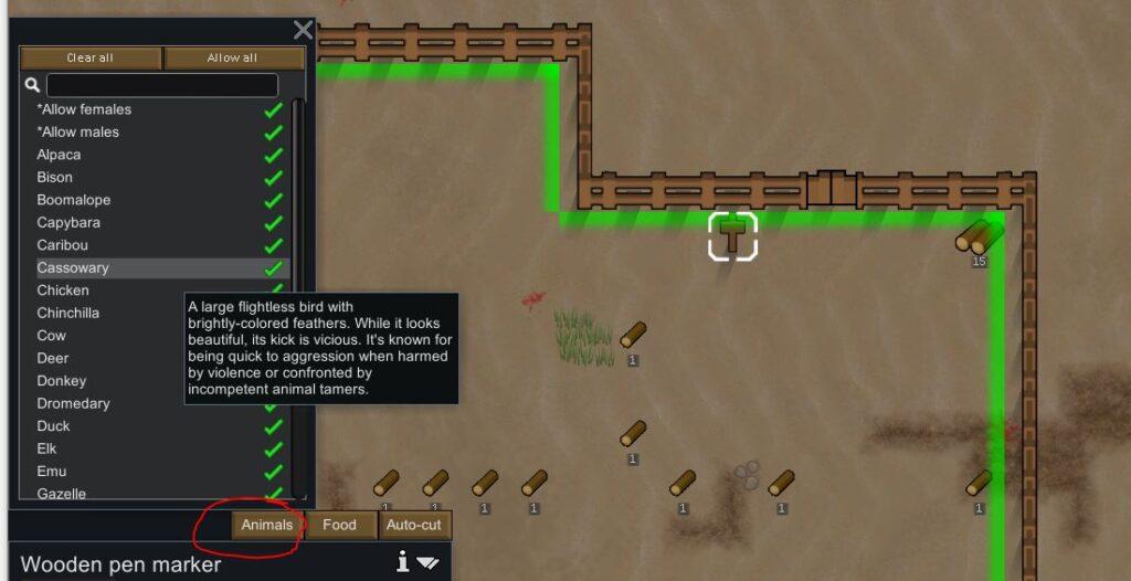 Deciding which animals area allowed in a pen in Rimworld
