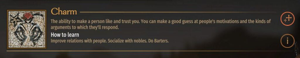 The in-game description for Charm in bannerlord