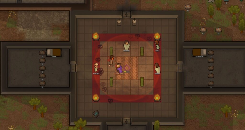 Two prisoners dueling in Rimworld Ideology expansion
