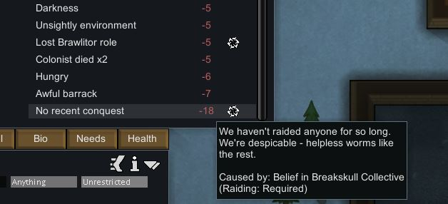 Showing the No Recent Conquest mood debuff in Rimworld Ideology