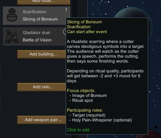 The description for the scarification ritual in RImworld
