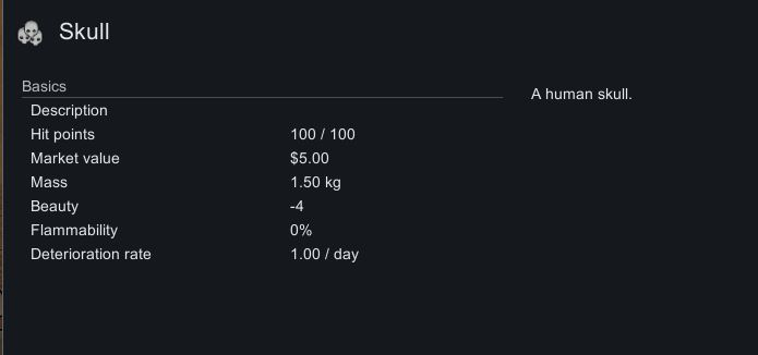 The in-game description for skulls in Rimworld including trading price and weight