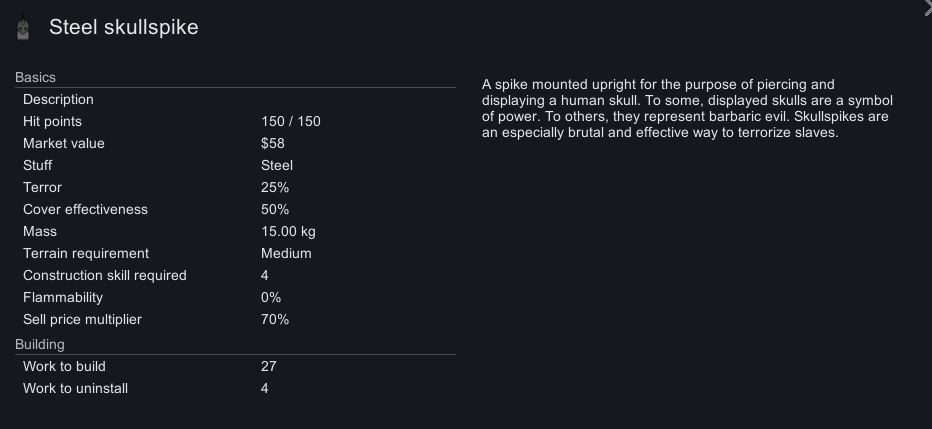 The in-game description for the steel skullspike in Rimworld