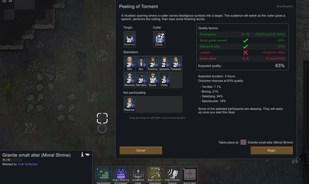 Setting up a scarification ritual at an altar in Rimworld Ideology