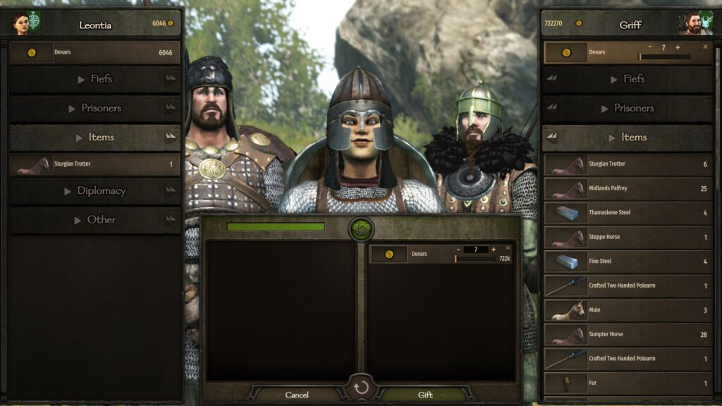 Bartering with lords in bannerlord to level up charm skill