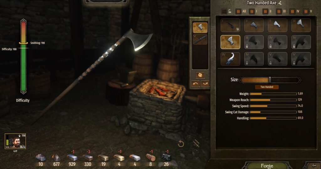 Creating a custom axe at the smithy in Mount and Blade Bannerlord