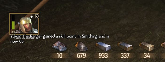 A character raising their smithing level in Mount and Blade Bannerlord