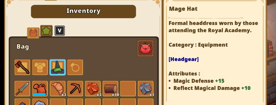 equipping armor and hats to change your appearance in Kitaria Fables