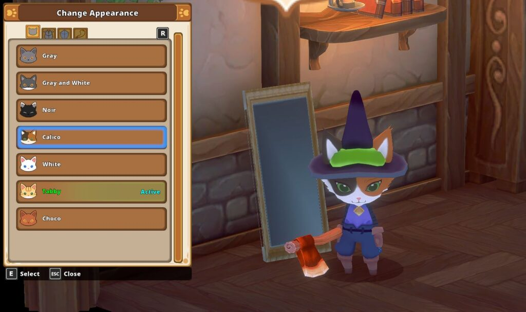 The different cat choices for customization in kitaria fables