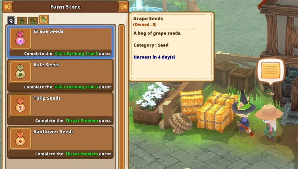 Buying seeds in Kitaria Fables